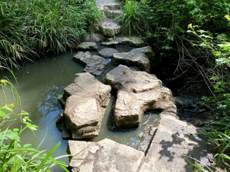 stepping stones over the river