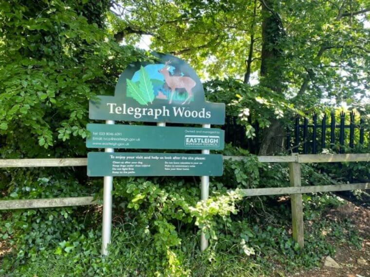 Telegraph Woods sign