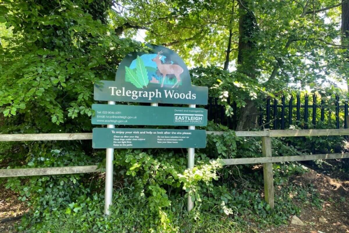 Telegraph Woods sign