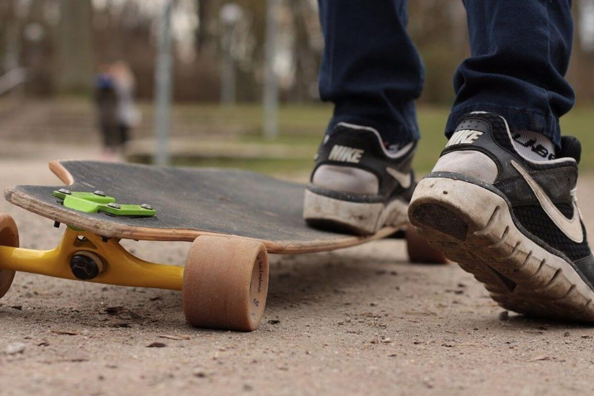 Trainers on a skate board