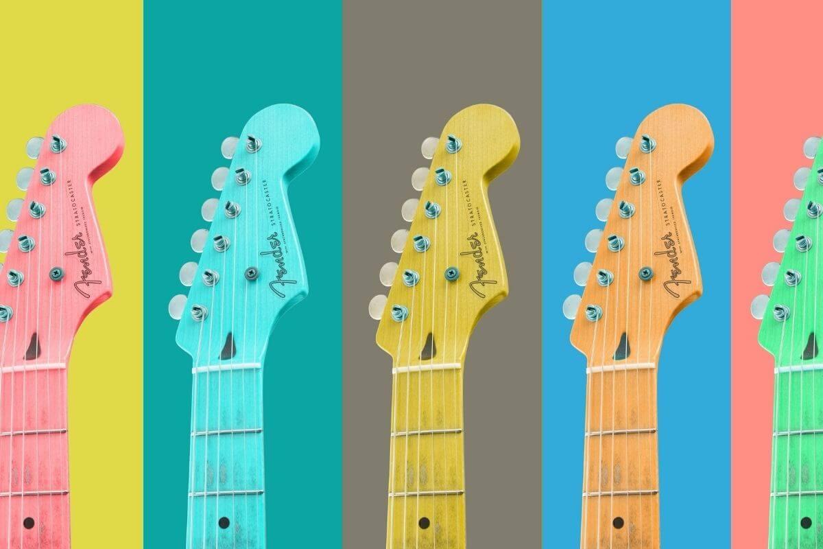 Pink, green, yellow and orange guitar