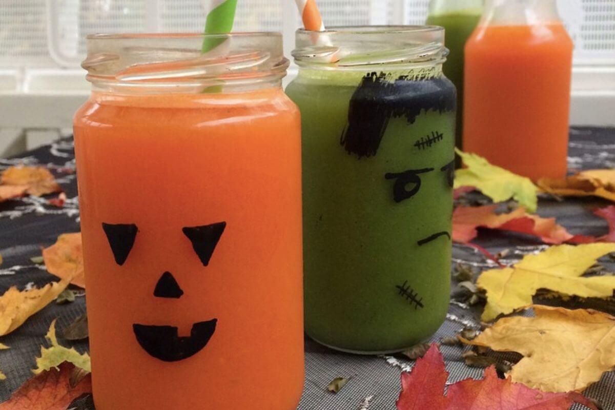 Jar with Halloween stickers