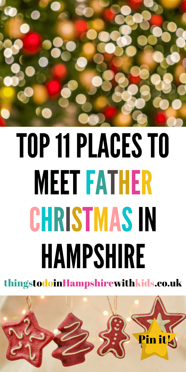 Here are 11 places to meet Father Christmas in Hampshire. These are all great for families of all ages and run throughout Winter by Laura at Things To Do In Hampshire With Kids #FatherChristmas #Hampshire #Thingstodo