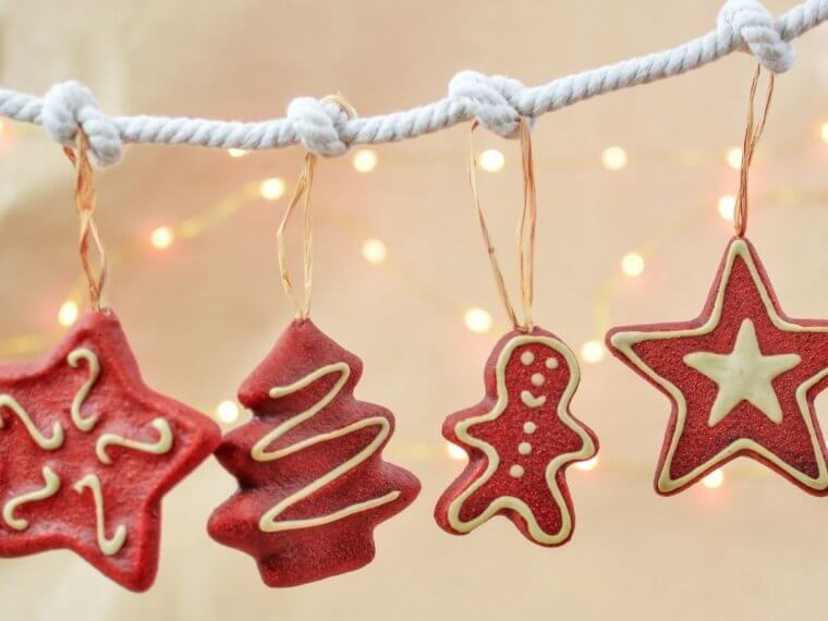 Hanging decorated red ginger bread men