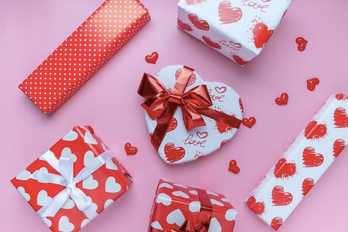 Pink background with heart wrapping paper