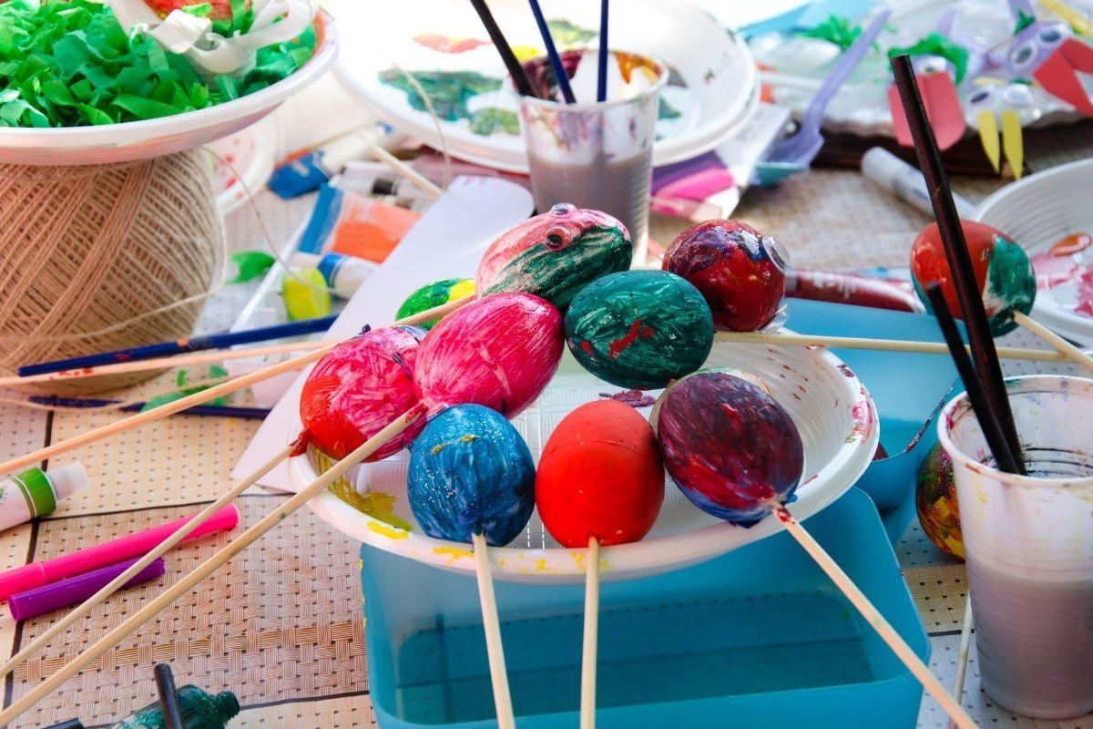 Painted eggs on sticks